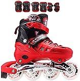 TOPNIU Skates Skates Principiante Adulto Set Niños Patines en línea Adecuado para Adolescentes (Color : Red, Size : Small 31-33)