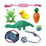 (8PCS) Dog Rope Toys -Dog Chew Toys-Puppy Toys-Puppy Teething Toys for Aggressive Chewers -Dog Toy Easter -Puppy Chew Toys- Dinosaur Rope Toy+Cute Plush Squeaky Dog Toy Pack for Small to Medium Dog