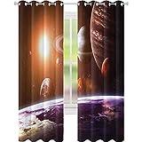 Cortinas opacas que reducen el ruido, vista de los planetas desde la Tierra Science Room Art con sol y luna, cortinas opacas de 63 pulgadas de largo para dormitorio, color naranja magenta