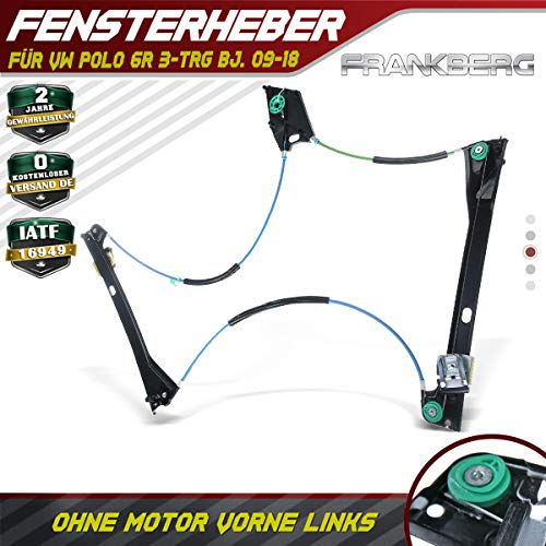 Frankberg Fensterheber Elektrisch Ohne Motor Vorne Links für Polo 6R 2/3-Türer 2009-2020 6R3837461A