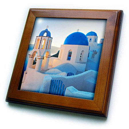 3dRose ft_149764_1 Fliese mit griechischer Kirche, gerahmt, 20,3 x 20,3 cm