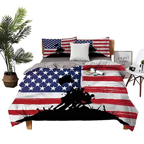 American Bedspread Set God Bless USA Flag All-Season Warm Queen