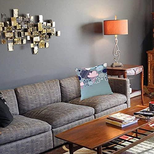 Federa decorativa per cuscino , Nuvole realizzate con faccine sorridenti e motivi ornati Immagine grafica felice stagione delle pi Fodera per cuscino quadrato per divano letto di casa 45X45cm