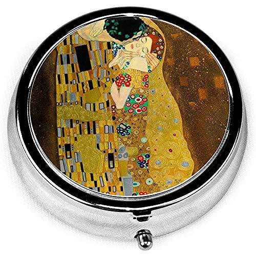 Gustav Klimt Der Kuss Tragbare Vitamin Medizin Runde Pillenetui, Geldbörse Pocket Pill Boxes Organizer mit 3 Fächern