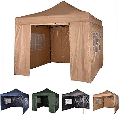 JKABCD Heavy gazebo 3m x 3m gazebo market stall pop-up tent with 4 sides (blue),beige