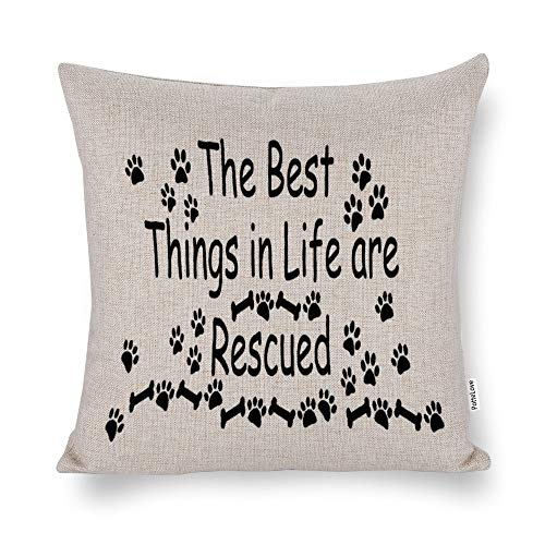"The Best Things in Life are Rescued Cotton Linen Blend Throw Pillow Covers Case Cushion Pillowcase with Hidden Zipper Closure for Sofa Bench Bed Home Decor 18""x18"""
