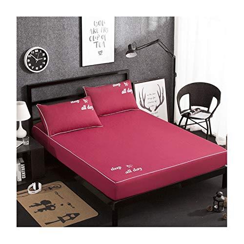 MZP Sabanas Bajeras Ajustables Sábana Bajeras de Microfibra Premium Suave y Cómoda Fitted Sheets con Goma Elástica Funda de colchón 30cm Bolsillo Profundo (Color : Wine Red, Size : 180×220cm)