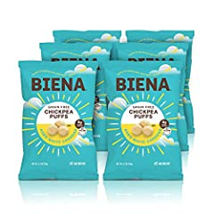 Contains 6 x 3.2oz bags of Biena Chickpea Puffs, Aged White Cheddar (packaging may vary) An instant classic flavor made with real cheddar cheese, you can taste the true cheesy goodness Ideal healthy snacks for kids and adults. Packed with 6 grams of ...