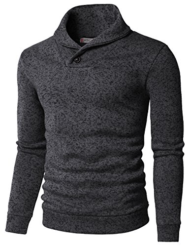 H2H Mens Knited Slim Fit Pullover Sweater Shawl Collar With One Button Point CHARCOAL US M/Asia L (KMOSWL036)