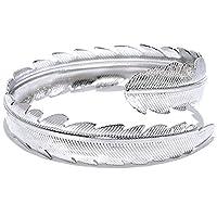 OCTCHOCO Gold Silver Feather Upper Arm Cuff Fashion Armlet Adjustable Bangle Bracelet