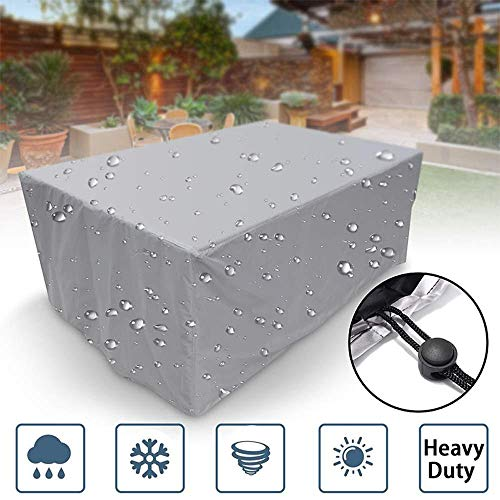 Volwco Garden Furniture Covers, Waterproof Anti-UV Heavy Duty Oxford Fabric Rattan Chair Table Furniture Cover, Patio, Outdoor, Silver, 150 * 150 * 75CM