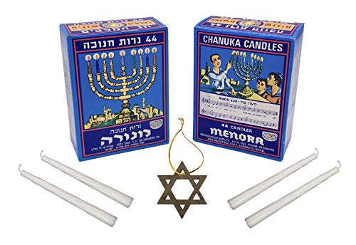 "2 Boxes White Basic Chanukah Candles Made in Israel Kosher Each Set of 2 Boxes Includes One 2"" Wooden Star of David"