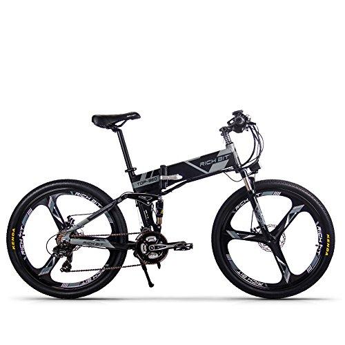 RICH BIT Bicicleta eléctrica RT860 250W * 36V * 12.8Ah Bicicleta Plegable Shimano Bicicleta eléctrica Inteligente MTB de 21 velocidades (Grigio nero)