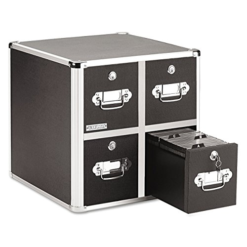 Vaultz Locking CD File Cabinet, 4 Drawers, 15.25 x 14.00 x 14.50 Inches, Black (VZ01049)