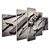 islandburner, Quadro moderno Attrezzatura d'annata del negozio di barbiere su fondo di legno Stampa su tela - Quadri mode Stampa su tela - Quadri moderni KQB-MFP-IT4