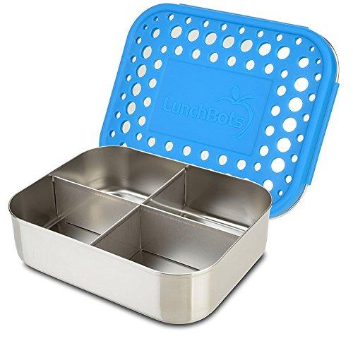 LunchBots Quad Edelstahl Nahrungsmittelbehälter – Vier Abschnitt Design Perfekt für gesunde Snacks, Beilagen oder Finger Foods – Umweltfreundlich, Spülmaschinenfest und BPA frei – Königsblau Gepunktet