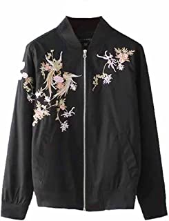 Viport Women's Phoenix Embroidered Bomber Jacket Loose Black Retro Vintage Embroidery