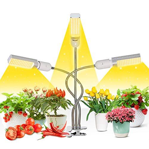 Niello Led Pflanzenlampe Vollspektrum, 72W Grow Lampe für Zimmerpflanzen, 156 LEDs Pflanzenlicht mit Timing Funktion, 3 Kopf Pflanzlicht für Sämlinge wachsende & blühende mit 3/6/12H Timer
