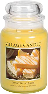 Village Candle Large Fragranced Candle Jar - 17cm x 10cm - 26oz (1219g)- Lemon Pound Cake - upto 170 hours burn time
