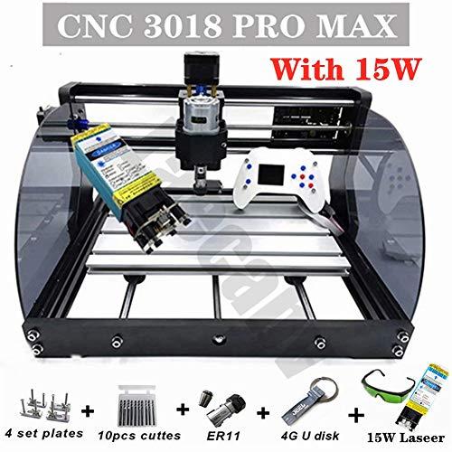 Máquina de grabado CNC DIY ER11 GRBL para PCB Madera PVC Mini CNC Fresadora (30X18CM Pro Max - 15w, white)