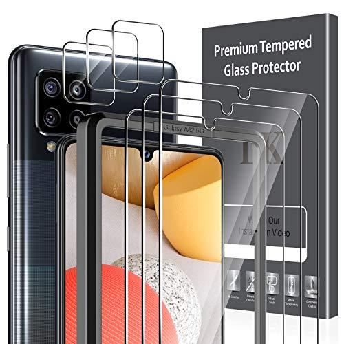 LK Compatible con Samsung Galaxy A42 5G Protector de Pantalla,3 Pack Cristal Templado y 3 Pack Protector de Lente de cámara, Doble protección, Kit de Instalación Incluido