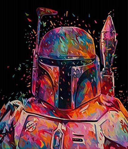 JJH Rahmenlose Malen Nach Zahlen DIY Star Wars Abbildung Wandkunst Bild Acryl Ölgemälde Für Hauptdekoration Wandkunst Einzigartiges Geschenk 40x50 cm