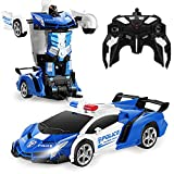 FIGROL Transform Car Robot, Independent 2.4G Robot Deformation Car Model Toy for Children, Transforming Robot Remote Control Car with One Button Transformation & 360 Speed Drifting 1:18 Scale