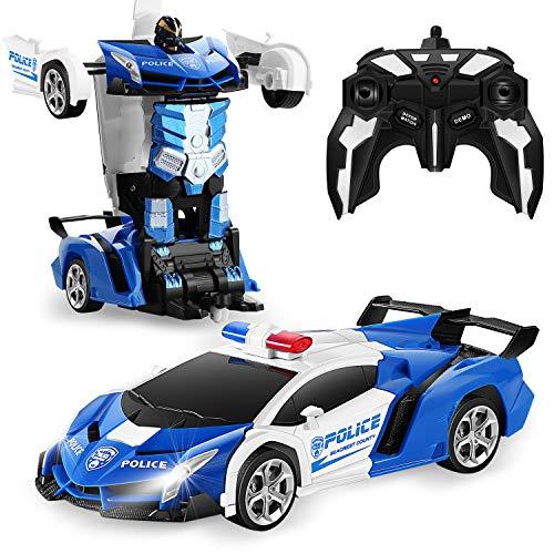 FIGROL Transform RC Car Robot, Remote Control Car Independent 2.4G Robot Deformation Car Toy with One Button Transformation & 360 Speed Drifting 1:18 Scale
