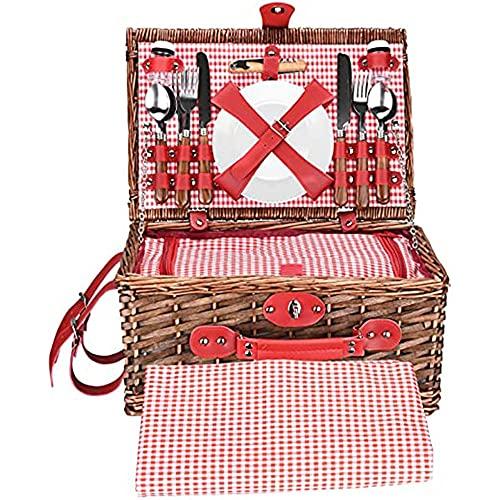 YFY Handgemachte Picknickkorb 4 Person Picknickkorb Set, wasserdichte Picknickdecke, Picknickkörbe mit Besteck Geeignet, handgefertigter Wicker für Picknicks und Camping am See, Strand, Strand
