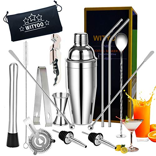 Cocktail Set,14 Piece Cocktail Making Set for Drink Mixing, Stainless Steel Bar Tool Kits with 750ml Cocktail Shaker, Cocktail Accessories Sets for Professional Bartender&Beginner (Silver-1)
