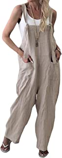 Macondoo Women's Linen Adjustable Pocket Sleeveless Retro Wide Leg Overalls