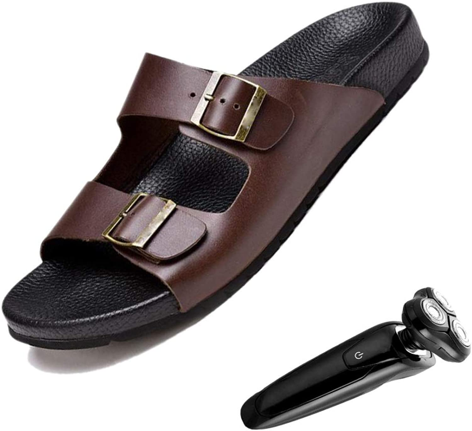 Summer Buckle Men's Leather Sandals and Slippers Casual Flip Beach shoes Brown Black Flat Soft Leather