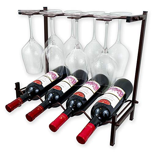 HOMEAID HOME DÉCOR Wine Rack Countertop with Glass Holder Counter Wine Rack Holds 4 Bottles up to 8 Glasses Wine Rack Table Top Standing Tabletop Bottles Organizer for Bars Bronze