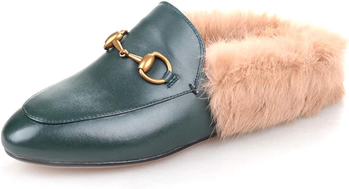 La Rosa Women's Fur Flat Loafers Backless Slip On Casual Slippers