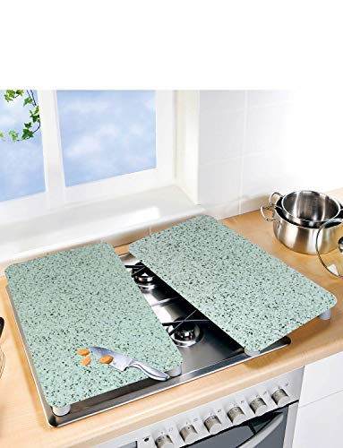 Set of 2 Universal Gas Electric Induction Hob Stove Covers Chopping Board Worktop Surface Protectors Grey