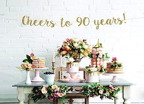 Pancarta de felicitación de 90 cumpleaños aniversario banner aplausos a 90 años cualquier año banner personalizado cumpleaños banner telón de fondo