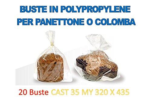 20 BUSTE TRASPARENTI PER PANETTONE PANDORO COLOMBA DA (500 GR , 750 GR , 1 KG ,1,5 KG ) IN POLYPROPYLENE CAST 35 MY 320 X 435