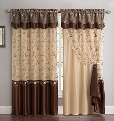 Fancy Collection Embroidery Curtain Set 2 Panel Drapes with Backing & Valance Coffee/brown