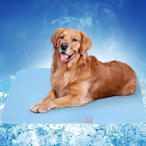 Alfombra Refrescante para Perros Gatos, Luxear Alfombrilla Refrescante para Mascotas Desodorante Antibacterianas Antimoho Antiácaros 70x90cm ARC-Chill Q-MAX>0,4 Colchonetas Camas para Perro, Azul