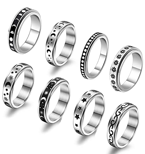 JEWPARK 8 PCS Stainless Steel Fidget Band Rings for Women Mens Cool Spinner Ring Set Triple Interlocked Rolling Sun Moon Star Celtic Ring Stress Relieving Reduce Anxiety Worry Rings 8