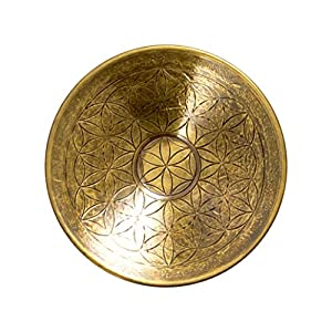 Brass Flower of Life Round Incense Holder for Incense Sticks and Cones