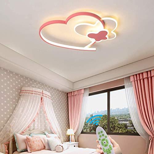 Lámpara LED colgante para pasillo diseño de mariposa y corazón moderna LED con forma de corazón color rosa para niñas dormitorio lámpara de techo de acrílico regulable mando a distancia, 50 cm, 30 W