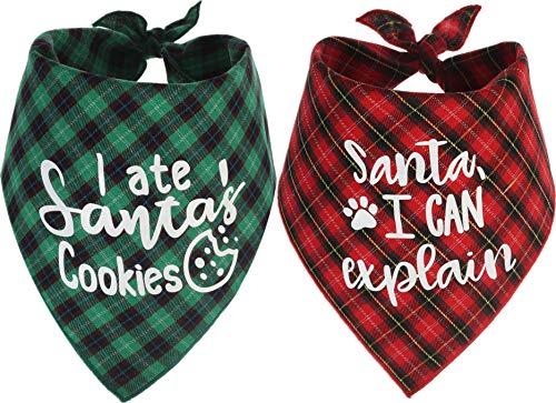 Dog Christmas Scarf, 2 Pack Plaid Pets Bandana Triangle Bibs Kerchief Set