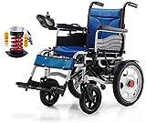 SOAR Sillas De Ruedas Electricas Silla de Ruedas eléctrica, con Joystick 360 °, Silla de Ruedas de tránsito Plegable de Aluminio Ligero, para discapacitados y Ancianos, Azules, 12a batería de Litio