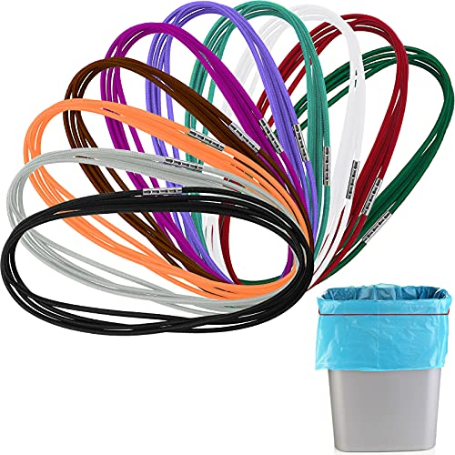10 Pieces Trash Can Bands Garbage Can Bands for Trash Cans Elastic Band Loop for Outdoor 30-64 Gallon Garbage Can 10 Colors 4.9 Feet