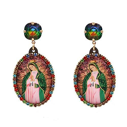 Pendientes de plata de ley con diseño de Virgen María para las mujeres, pendientes de gota de cristal bohemio, pendientes de declaración de joyería de Navidad al por mayor (color de metal: 1 rosa)