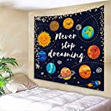AMBZEK Cute Planet Quotes Tapestry Kids Cartoon Star Cluster 51Hx59W Inch Space Galaxy Solar System UniversePrinted Wall Hanging Bedroom Living Room Dorm Decor Fabric