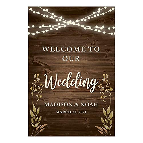 Andaz Press Personalized Extra Large Wedding Easel Board Party Sign, 12x18-inch, Rustic Wood with Hanging Ball Lights and Florals, Welcome to Our Wedding Bride Groom Name Date, 1-Pack, Custom