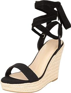 Women's Retro 70s Crissscross Ankle Tie Chunky Espadrille Platform Wedge Sandal