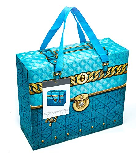 Folding Lid Paper Gift Bags for Any Occasion Blue Large (Bulk of 12)
